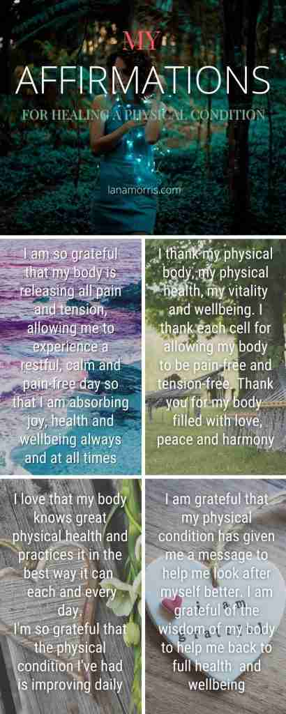 My affirmations for healing a physical condition