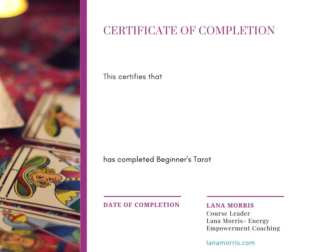 Beginners Tarot Certificate
